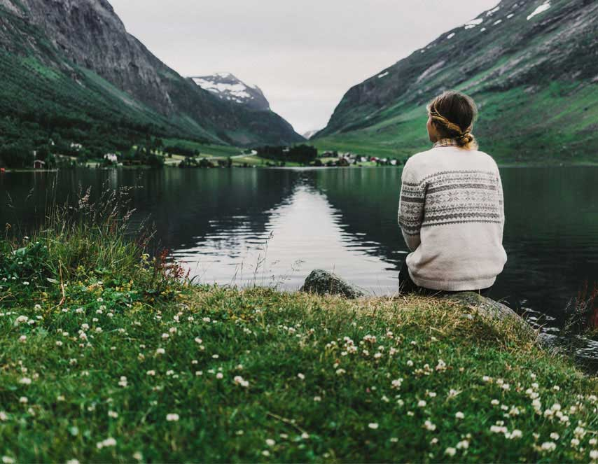 Scandinavian woman near the lake