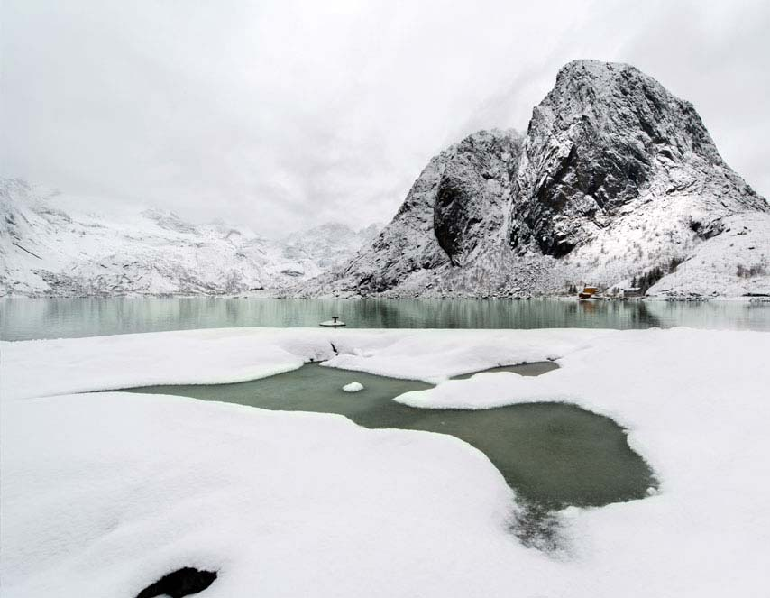 Lilandstinden mountain peak on Hamnoy island during winter time